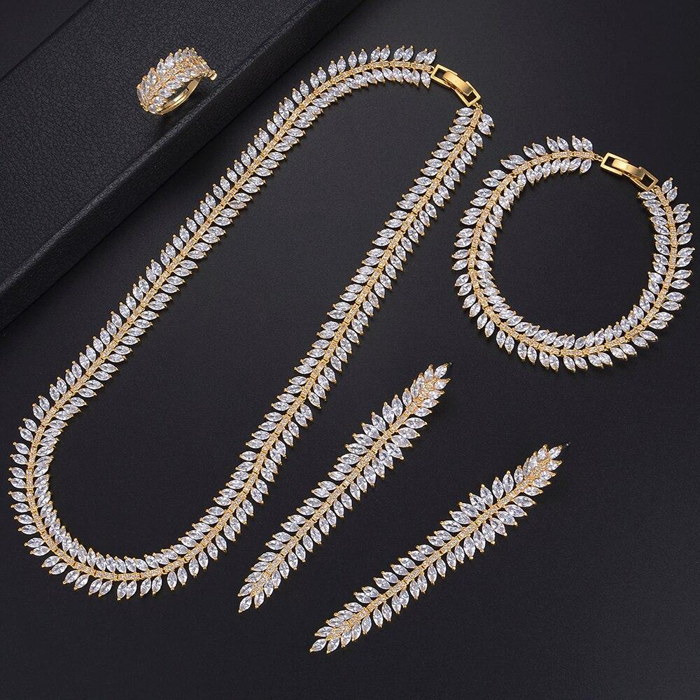 GODKI Luxury Cubic Zirconia Wedding Jewellery Sets For Women Wheat Olive Branch Leaf African Dubai Brides 4pcs Jewelry Sets