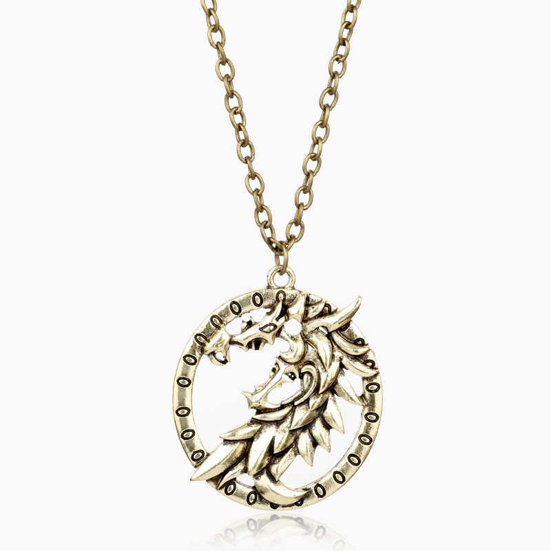 MQCHUN The Elder Scrolls V Skyrim кулон ожерелье винтажная Игра престолов Ланнистеры Лев Талисман Дракон Ожерелье для мужчин подарки