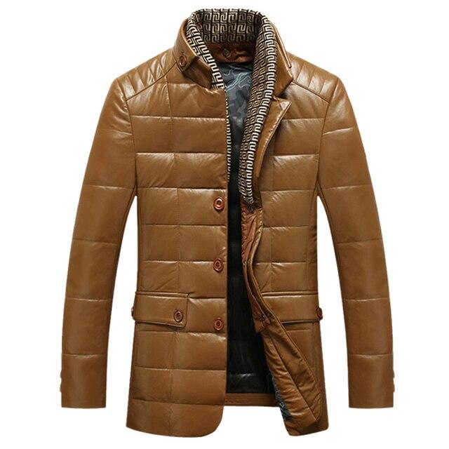 c8713d8c € 67.09 |Hombres de invierno chaqueta de plumón de Pato Abrigo de Moda  Masculina de Cuero de Piel de Oveja Cálido OutdoorWear Cuello alto Delgado  ...