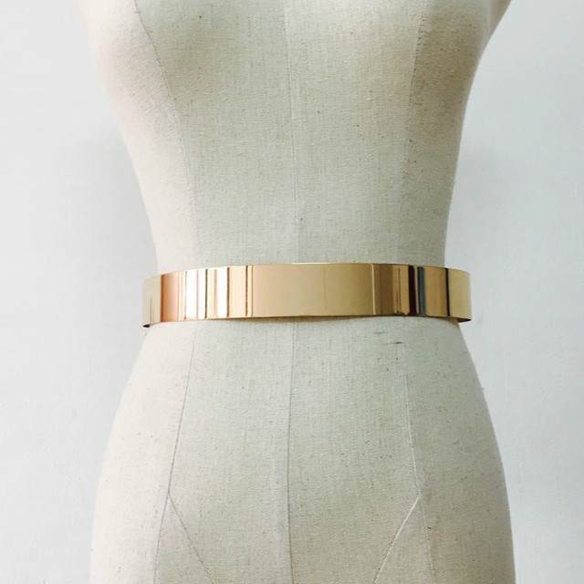 Fashion Women Adjustable Metal Waist Belt Bling Gold Silver Color Plate Vintage Lady Simple Belts Mirror Waistband