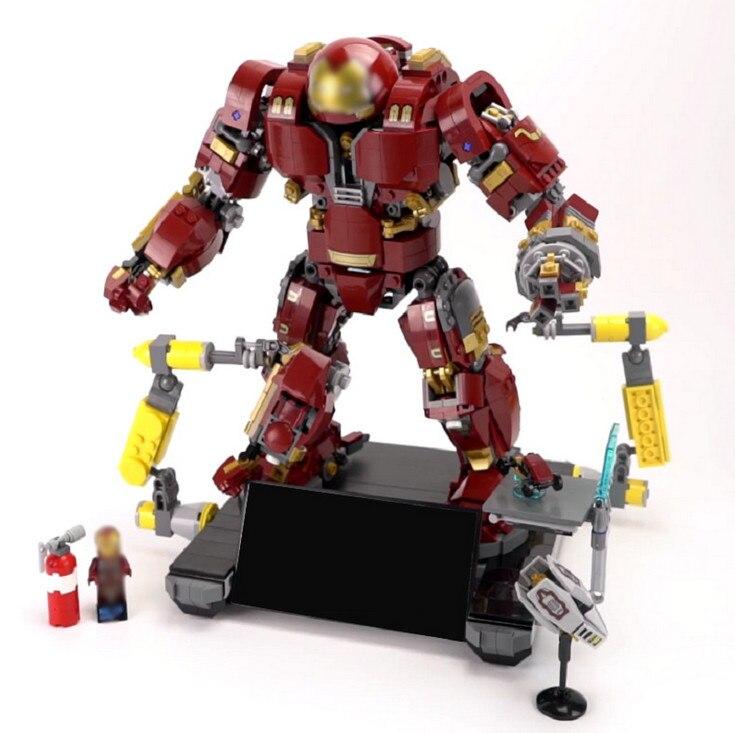 Lepin Building Blocks Super hero Iron Man Anti Hulk Mech 07101 for Kids Compatible 76105 Super Hero Super Heroes Blocks Set xh 648 super hero building blocks