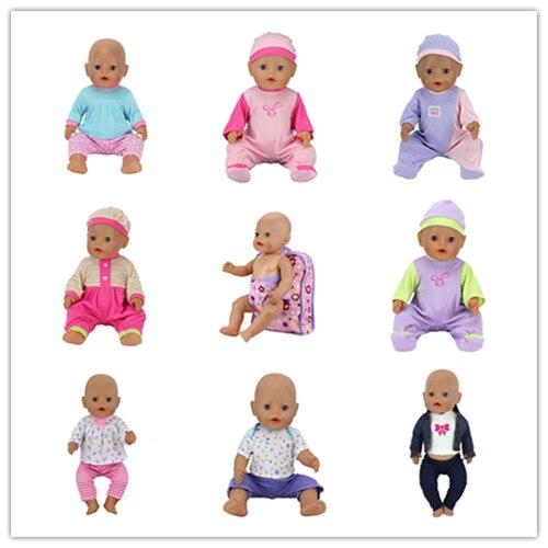 2017 nouveau 8 set + sac à dos poupée vêtements manteau porter pour 43 cm/17 pouces bébé poupée, enfants meilleur cadeau d'anniversaire jouets filles cadeaux de noël