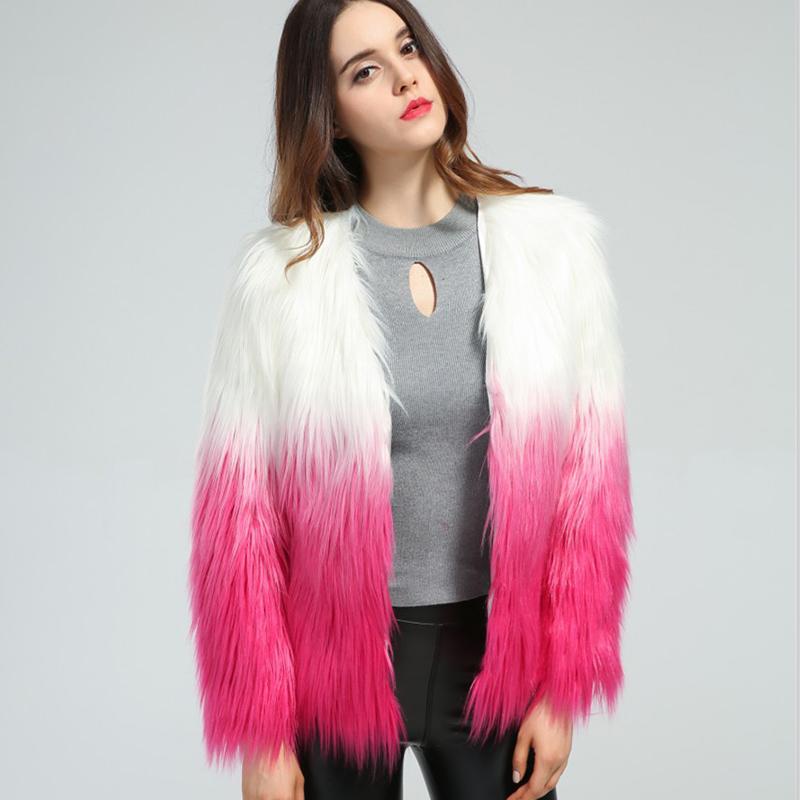 2016 automne hiver femmes veste manteau color chic pelucheux poil long manteau de fourrure outwear patchwork - Veste Colore Femme