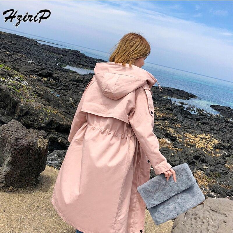 HziriP New England 2018 Autumn Jacket Women s Hooded Fashion Loose Single Breasted Long Windbreaker Female