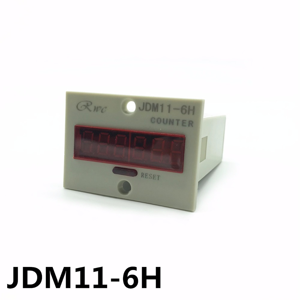 JDM11-6H Grey Digit Display Electronic Counter AC 220V DC 24V Production Counting fused 4 dpdt 5a power relay interface module g2r 2 12v dc relay