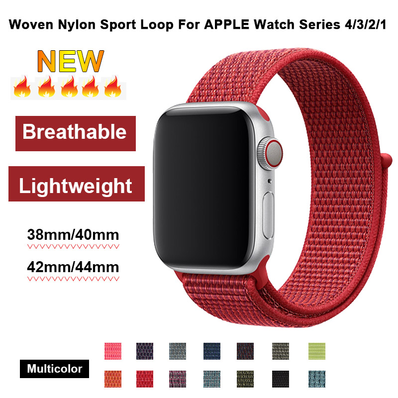 Red Sport Loop Band For Apple Watch 4 40mm 44mm Nylon Strap 38mm 42mm For Iwatch Series 3