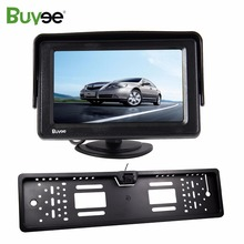 купить Buyee 4.3 inch HD TFT LCD Car Rearview Monitor with HD Car Rear View Reverse Camera EU License Plate Number frame for ford RV онлайн