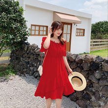 New fashion sexy summer dress Korean version of womens a word shoulder waist show thin patchwork large 2055