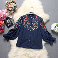 Inverno Mulheres New Floral Camisas Outono Longo-sleeved Flores Bordadas Meninas Doce Algodão Camisas de Boa Qualidade Novo Design