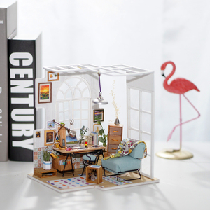 Image 2 - Robotime DIY 소호 시간 가구 어린이 성인 미니어처 나무 인형 집 모델 빌딩 키트 인형 집 장난감 선물 DGM01