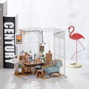 Image 2 - Robotime Diy Soho Tijd Met Meubels Kinderen Volwassen Miniatuur Houten Poppenhuis Model Building Kits Poppenhuis Speelgoed Gift DGM01