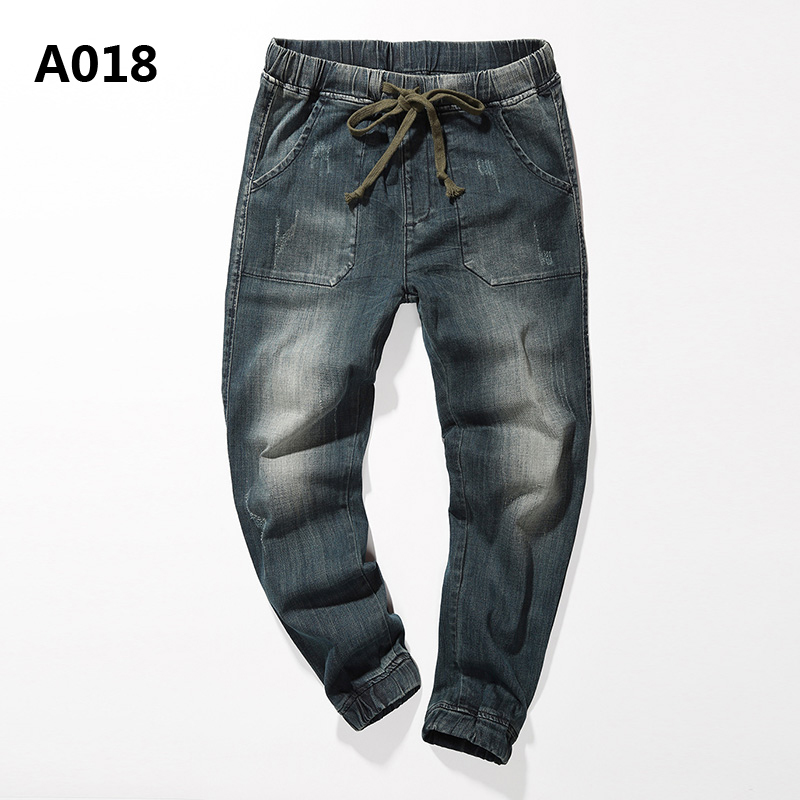 Mens Harem Jeans Pants Brand Clothing Low Stripe Distressed Regular Fit Jeans Men Denim Drawstring Trousers Uomo Plus Size A018 regular fit plus size mens straight jeans classic blue drawstring waist oversize denim trousers s 7xl 29 48