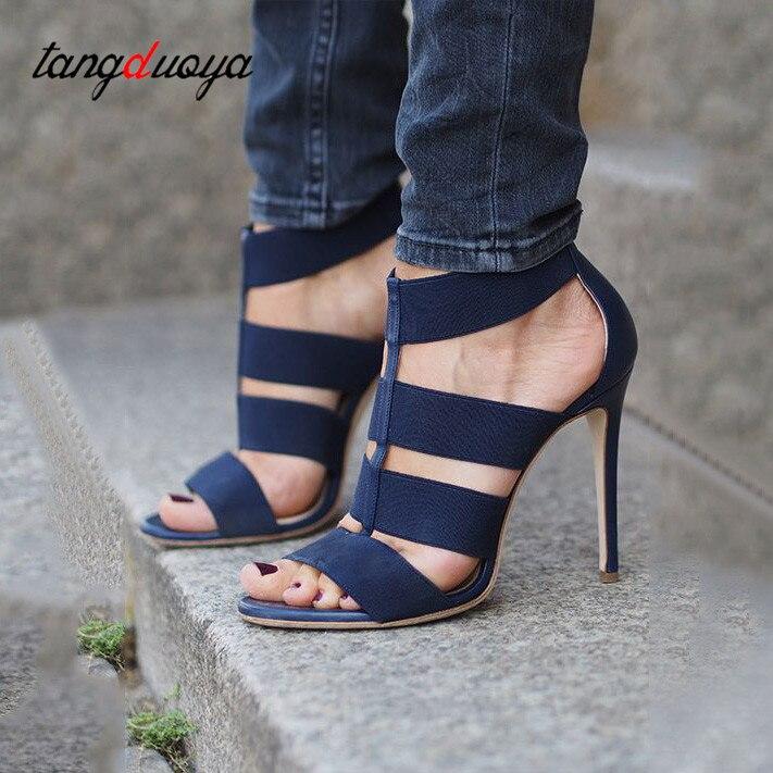 Talon black Ouvert Toe Peep Sexy À Talons Haut Bout Chaussures Femme Stiletto Blue Pompes Tacones Gladiateur Haute Femmes Mujer U7xpqFH