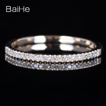 BAIHE Solid 14k Yellow Gold Certified 100% Natural Diamonds Engagement Wedding Ring Women\'s Jewelry Resizable