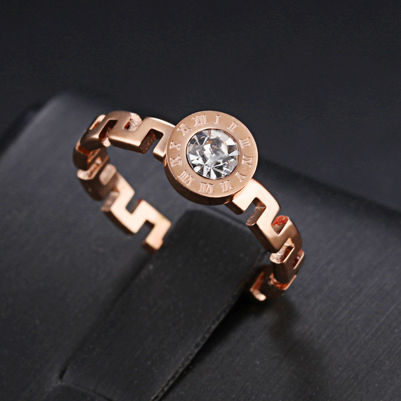 Rose Gold Wedding Ring Great Wall Shape Signet Alliance Titanium Ring with Stone AAA Zircon Vintage Roman Number Ladies Rings