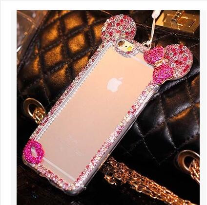New 3D Mickey mouse Case For LG K10 K7 K8 For LG X Cam Cases Rhinestone ear Hello Kitty Soft Protect Cover Phone Chain