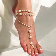 Doreen Box Vintage Anklet Chain Women Bracelet Beach Imitation Pearl Barefoot Tornozeleira Femininas Foot Jewelry