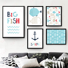 Nordic Minimalist Style Blue And Green Little Fish A4 Canvas Painting Poster Prints Hanging Painting Home Decoration posters(China)