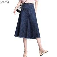 LXUNYI 6XL 7XL 8XL Women Denim Pants 2018 Summer Capri Loose Plus Size Jeans Woman High
