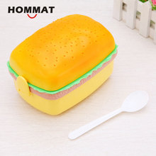 Hamburger Burger Shape Japanese Bento Lunch Boxs for Kids Food Container Lunchbox w/ Plastic Kitchen Food Box Novelty Picnic Set