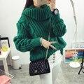 Moda de las nuevas mujeres de Otoño invierno de Cuello Alto suéter grande tamaño de Cáñamo flores patrón de color sólido Flojo Grueso suéter tejido de punto Caliente