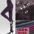 Envío gratis Otoño Invierno Mujeres Pedal Protección Elástico Slim fit Fleece panti Footless Medias Mantienen Caliente
