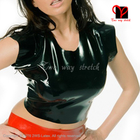 Black Sexy Latex shirt short sleeves Rubber undershirt round collar Top Tee shirt plus size XXL SY 077