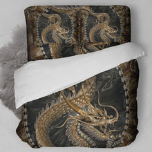 Gold dragon bedding 3D Printing duvet cover set single twin full queen king size bedlinen