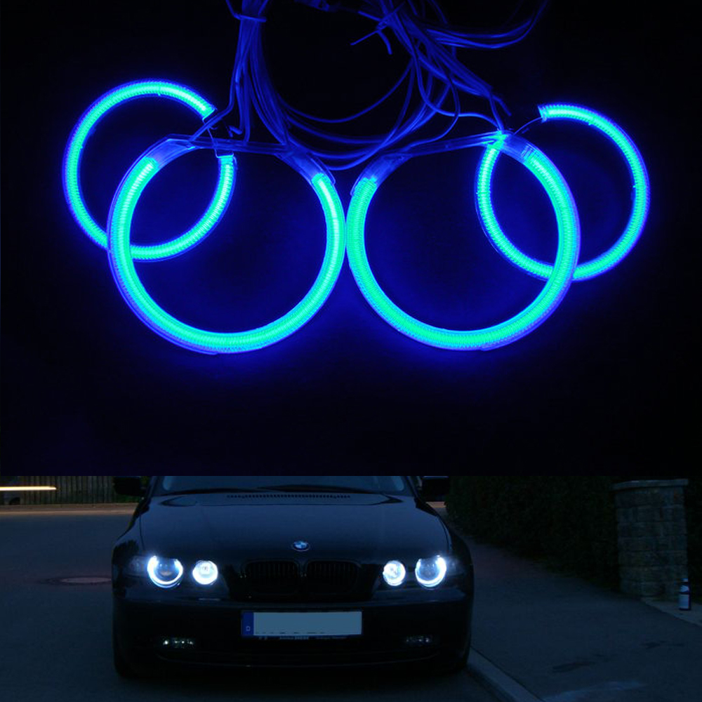 4pcs/set Halo Rings DRL Kit CCFL Angel Eyes For BMW 3 Series E90 2005-2008 Non-projector Headlight With 2 CCFL inverters 4pcs set yellow car ccfl halo rings led angel eye headlight kits for bmw e32 e34 e30 e39oem j 4164