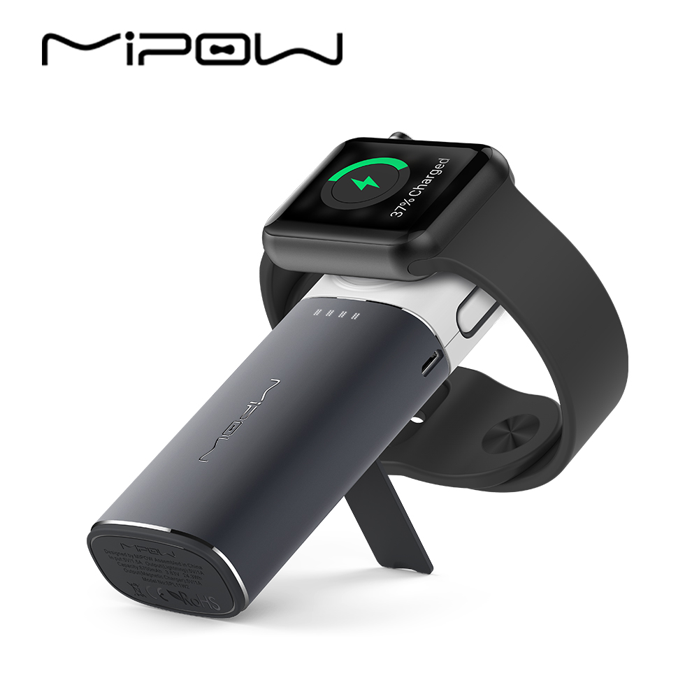 MIPOW Wireless Charger for Apple Watch Portable Power Bank with Built in Lightning Cable for iPhone
