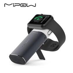 Mipow carregador sem fio para apple watch banco de potência portátil com embutido cabo relâmpago para iphone x xs 8 carregamento rápido iwatch
