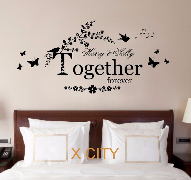 Personalised name lover together forever quote wall art sticker removable vinyl transfer decal warm house bedroom
