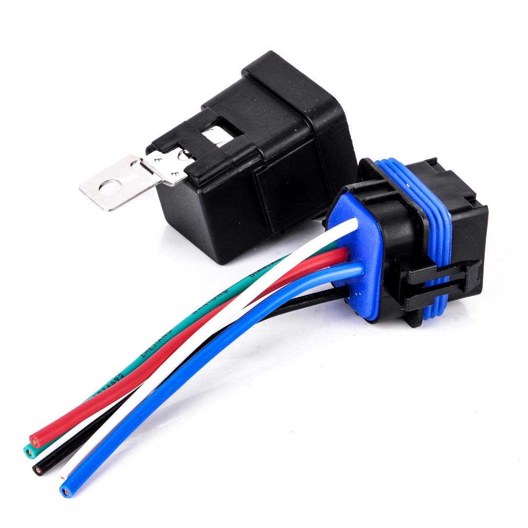 1set DC 12v 40A Auto Relay 4 Pin Waterproof Integrated Wired Automobile Relay + Holder With 105mm Length Wires waterproof integrated automotive relay 12v 4 feet 40a normally open with a line containing a socket
