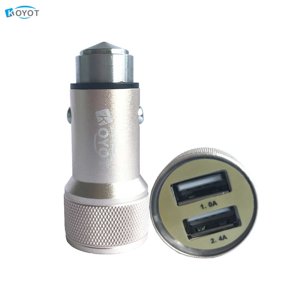 KOYOT Metal Casing Dual USB 2 Ports car Fast Charging Universal USB Car Charger  for iphone 6 Samsung galaxy s8 USB Cigar Socket