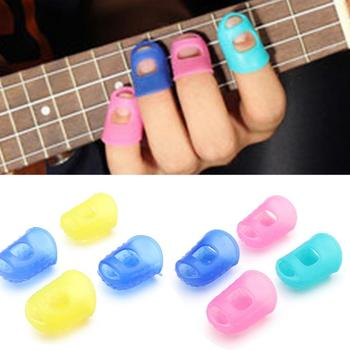 4Pcs/Set Silicone Finger Guards Guitar Fingertip Protectors For Ukulele Guitar S M L Random Color tights