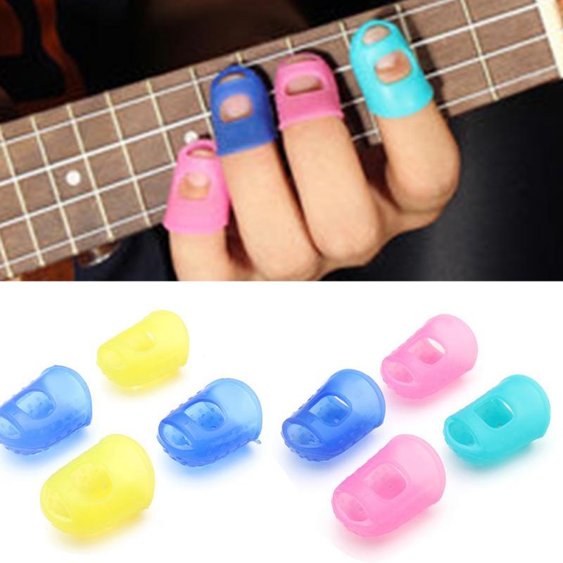 4Pcs/Set Silicone Finger Guards Guitar Fingertip Protectors For Ukulele Guitar S M L Random Color