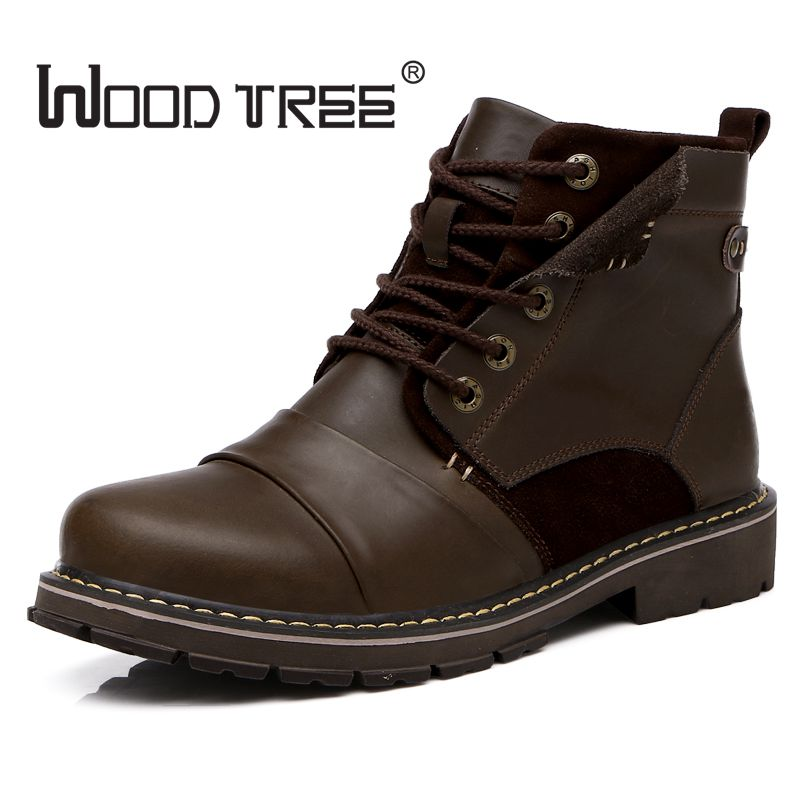 woodtree Quality Genuine Leather shoes men Boots High Top Martin Motorcycle Autumn Winter shoes Lover snow Boots Free Shipping lozoga quality genuine leather shoes men boots high top martin motorcycle autumn winter shoes lover snow boots free shipping