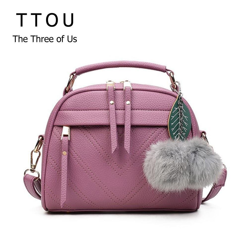 TTOU Square PU Leather Handbags Chain Messenger Bags With Ball Female Shoulder Crossbody Bag Sling Bolsa Ladies Party Handbags