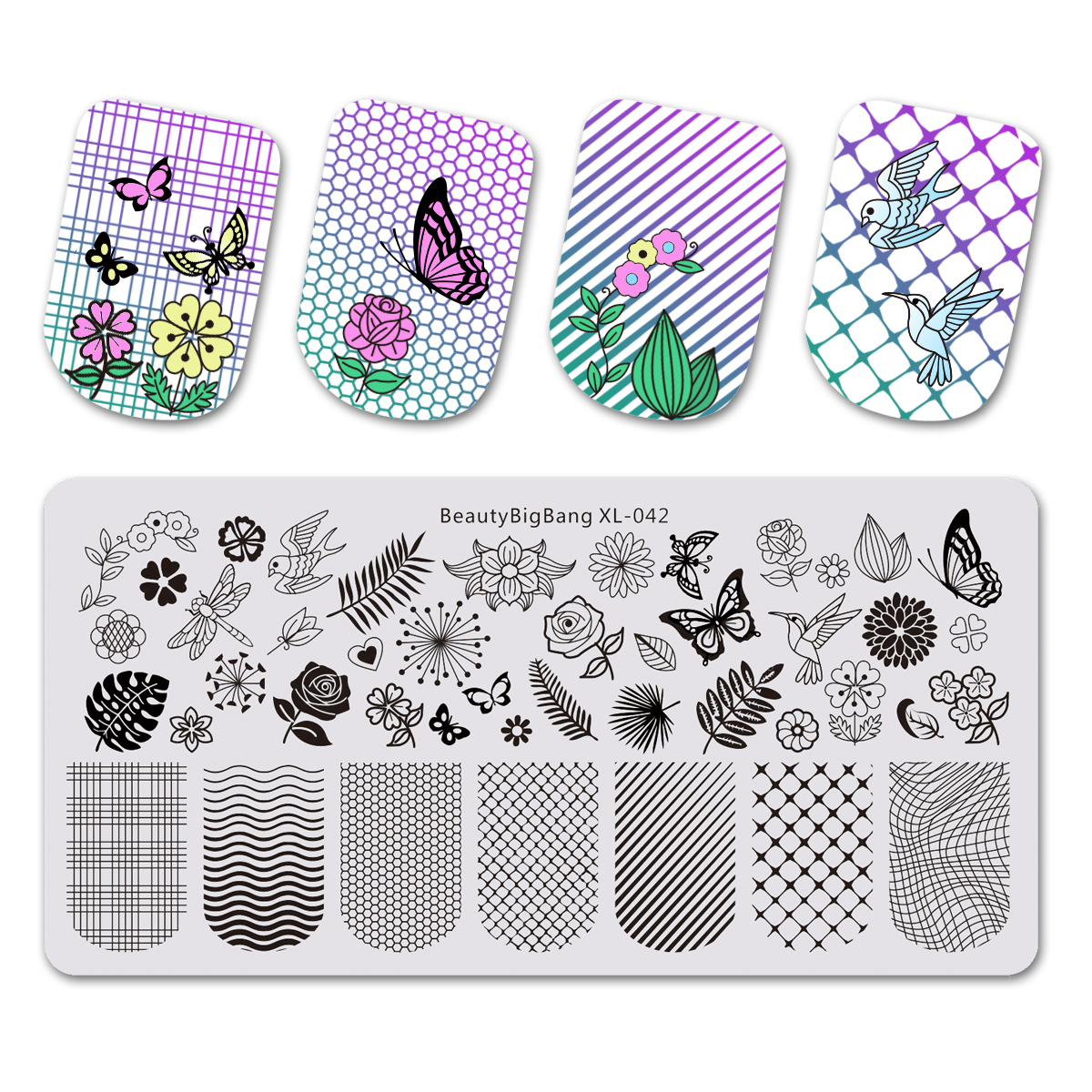 Beautybigbang 6*12cm Nail Stamping Plates Stainless Steel Rectangle Flower Butterfly Grid Plaid Bird Image Nail Art Stamp Plate