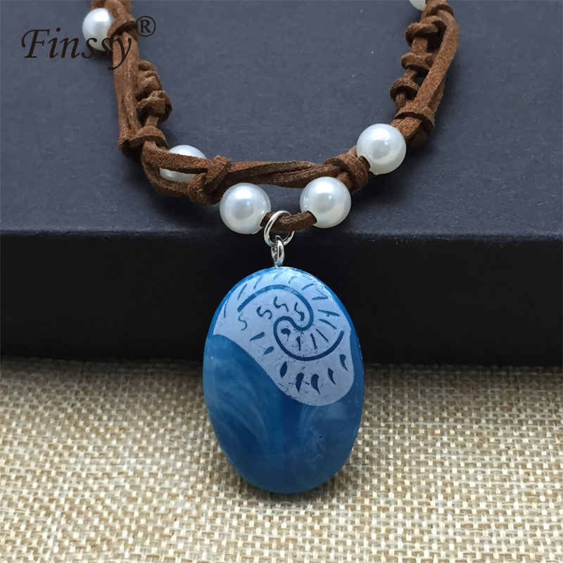 Moana Ocean Romance Rope Chain Necklaces Blue Stone Te Fiti Heart Pendants Necklace For Women Female Jewelry Promoting Health And Curing Diseases Costumes & Accessories
