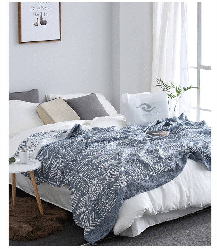 f0e19984fc 100% Coon Four Layers Summer Blanket America Style Geometry Prints Towel  Blanket Soft Skin-Kindly Bedding Quilts Sofa Throw