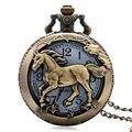 Caballo de Bronce de Cobre Reloj de Cuarzo Hueco Reloj de bolsillo Del Envío Libre Hora del reloj Fob Con Cadena Colgante Mujeres Hombres Regalos de Navidad P907