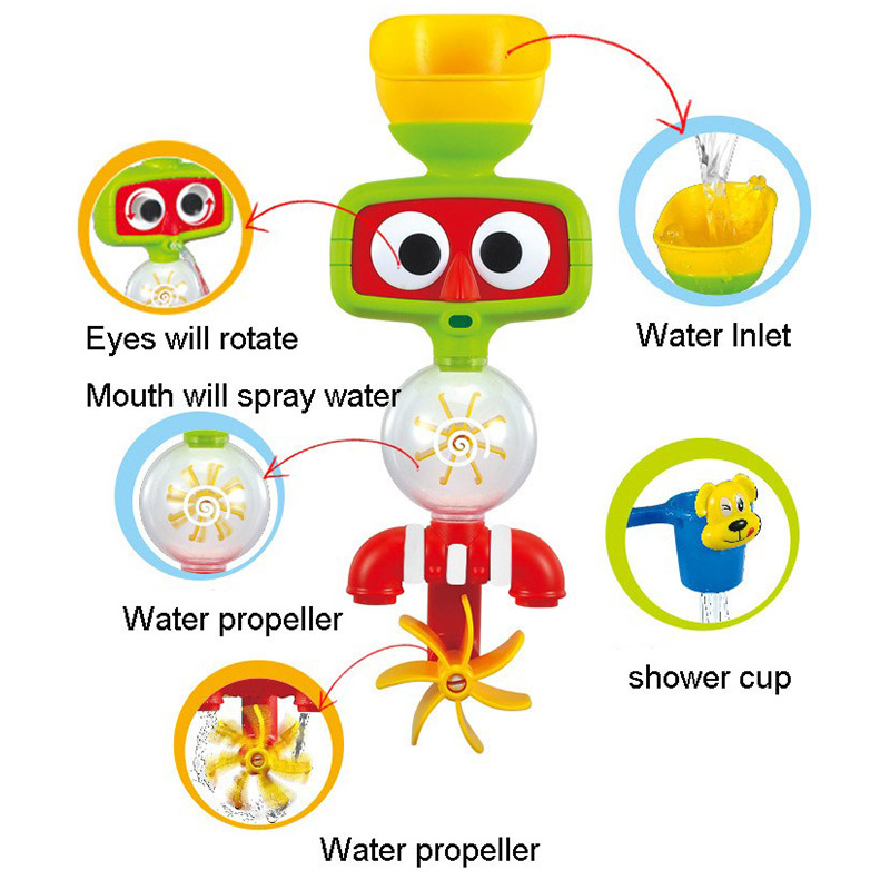 2017 Hot Multicolor Fun Baby Bath Toys Automatic Spout Play Taps buttressed Folding Spray Showers Toy