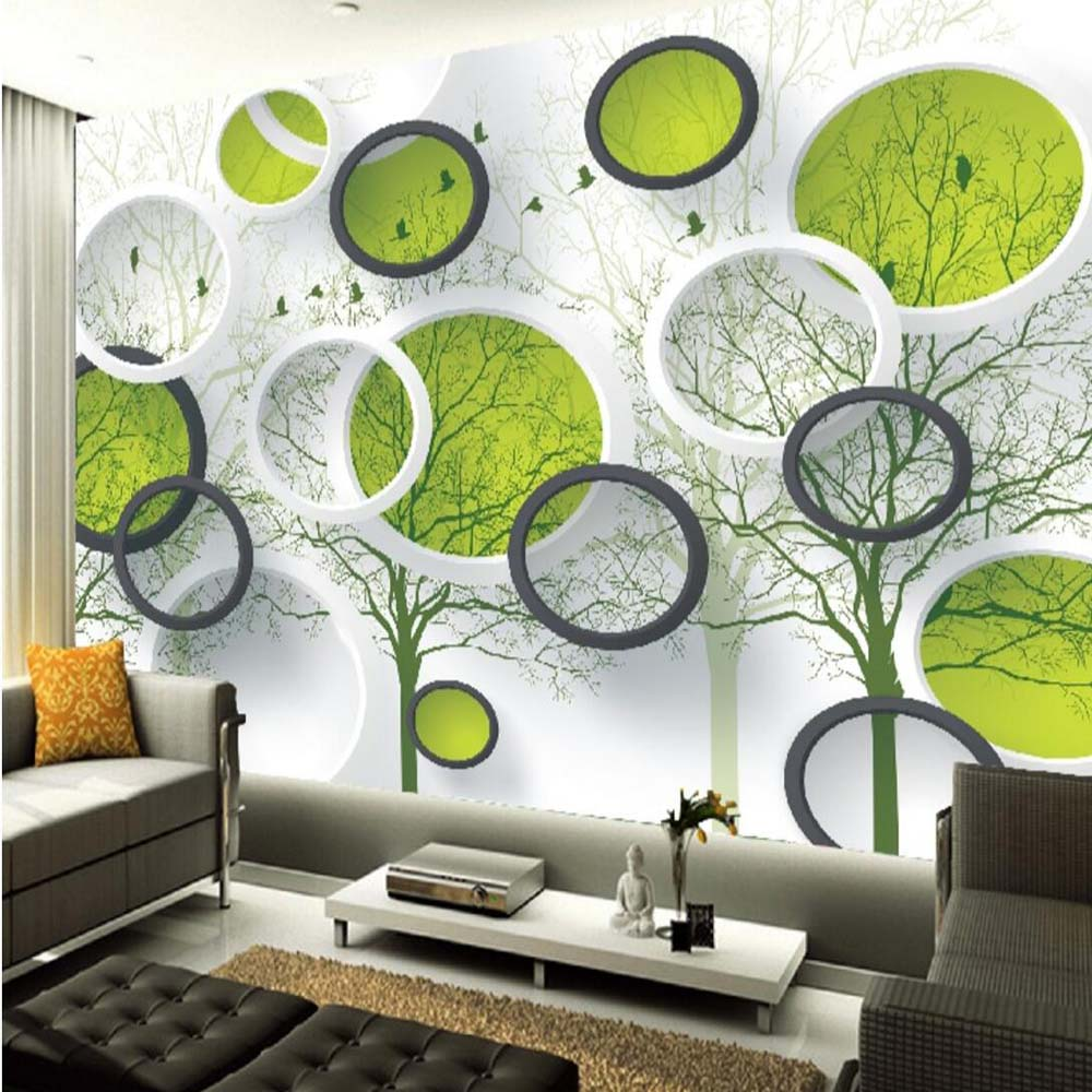 3d abstract circle photo wallpaper mural for living room - Papel empapelar paredes ...
