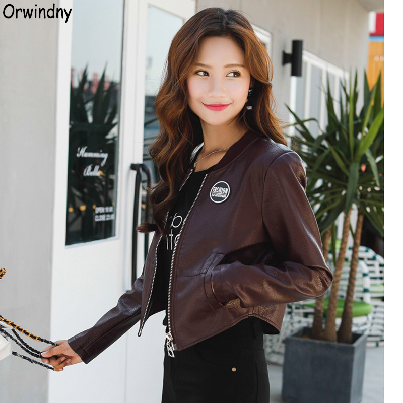 Orwindny 2019 New Slim Spring   Leather   Jackets Women Casual Coat Baseball Uniform Jacket O-Neck Autumn Clothing Wine Red
