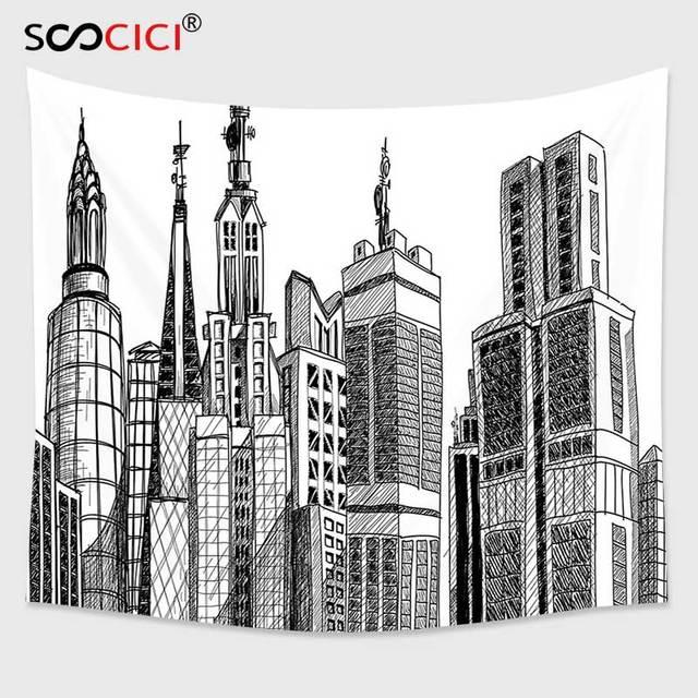 Cutom Tapestry Wall HangingFabric Urban Arhitecture Sketch Skyscraper Metropolis Grunge Handdrawn Modern City Scenery