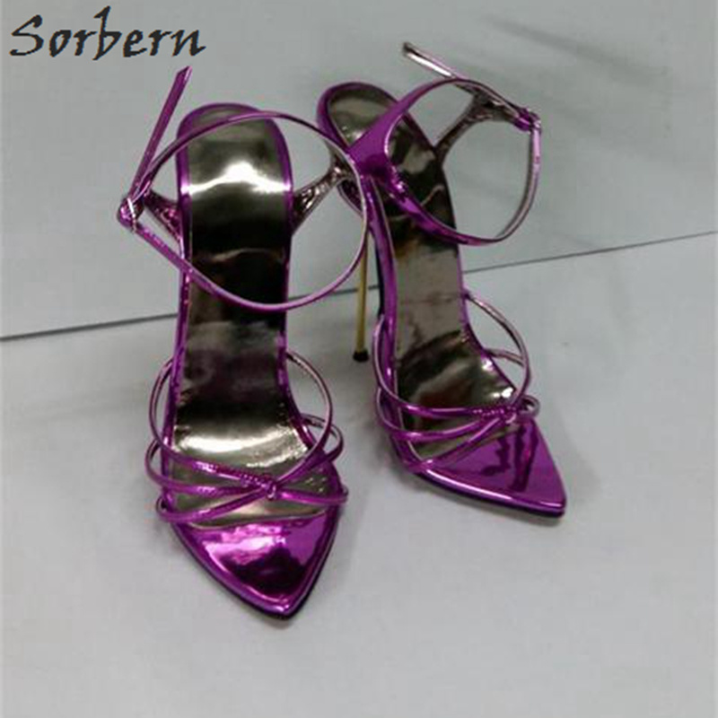 Sorbern Women Sandals Shoes 2018 Plus Size Ladies Party Shoes Buckle Strap 14/16cm Heels Sandalias Mujer Sandales Femme sorbern plus women sandals deep purple zipper spike heels sandalias mujer 2017 summer shoes women large size shoes women 43
