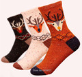 Женская шерсть хлопок полушерстяные носки зима осень толстый творческий носки лося носки корея марка классический элитный олень носки