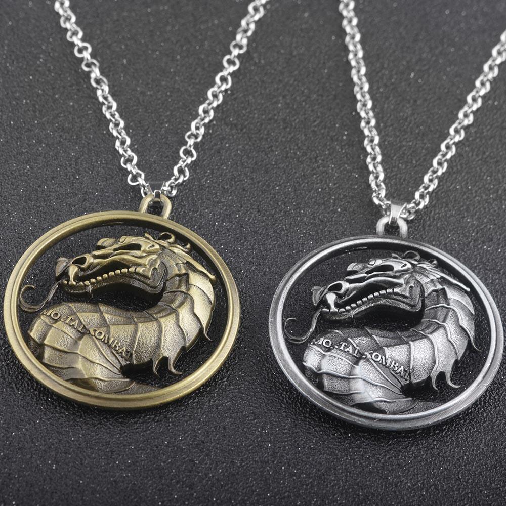 2 szín kiváló minőségű ötvözet játék a trónok sorozat Mortal Kombat nyaklánc sárkány Vintage medál nyakláncok Movie Ékszer