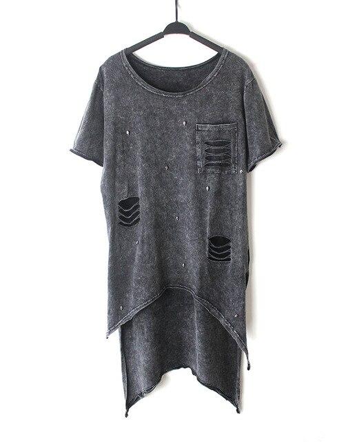 T Shirt Women 2016 Summer Style Fashion irregular Hem T Shirt Woman Rivet Hole Hollow Out Tshirt Punk Woman Clothes